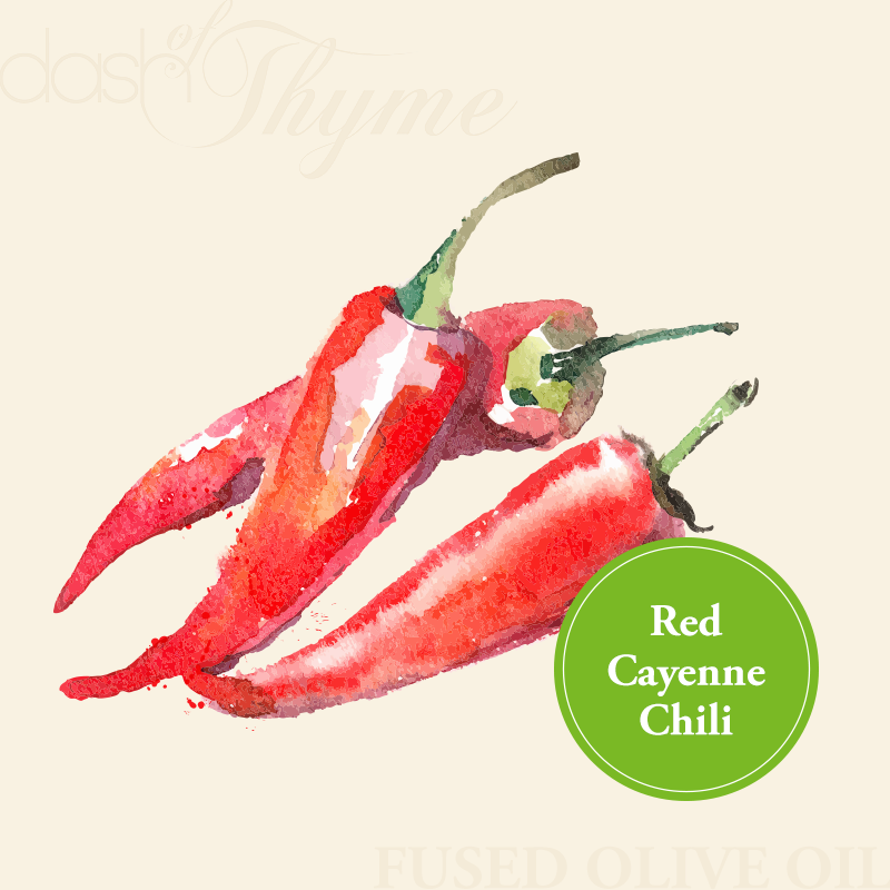 Dash of Thyme—Organic Red Cayenne Chili Fused Olive Oil