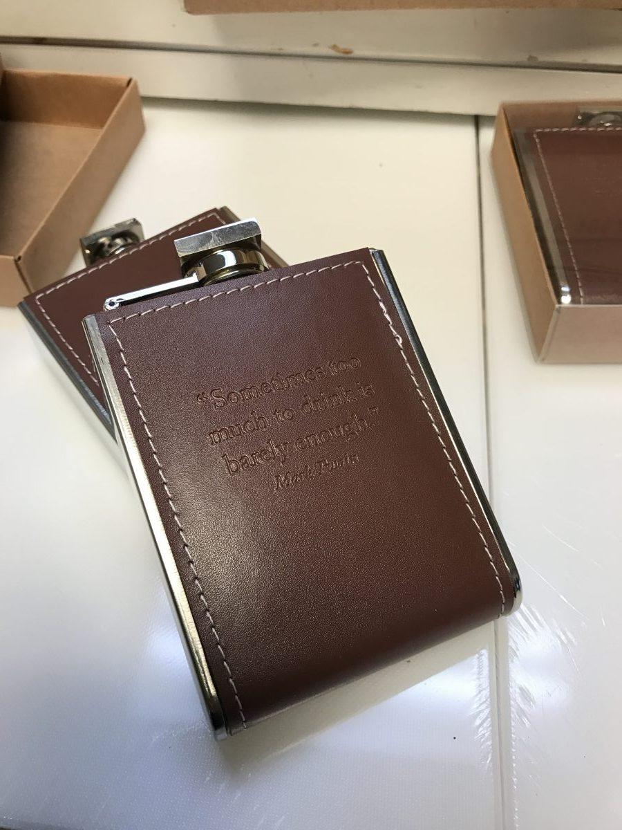 Embossed Leather Pocket Flasks—Dash of Thyme Denville, NJ